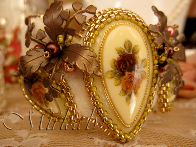 Creamy Victorian cuff bracelet with vintage cabochons and 24K light gold plated beads