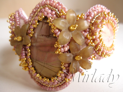 Romantic powder pink bracelet cuff with jasper cabochon, lucite and 24K goldplated beads and findings