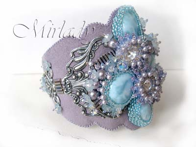 Swarovski Pearls, Bicones and Rivoli Stones combined with  Larimar Cabochons