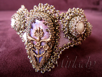Bead embroidery Cuff bracelet made with vintage Swarovski cabochons and  antique French bronze metal seed beads size 22/0  from 1880-1890