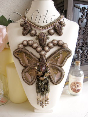 Bead embroidery and beadwork Necklace Masterpiece made with real butterfly wings. Finalist piece Bead Dreams 2012.