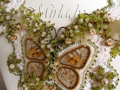 Bead embroidered lace collar with real butterfly wings