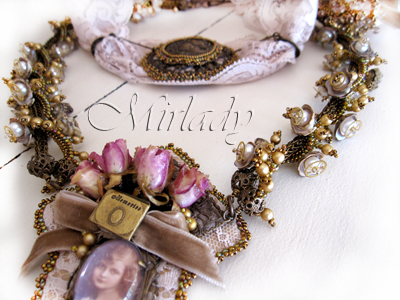 Black Olive shell, pearls, Steampunk Parts ( watch gears ), Vintaj and again real roses ..... on Vintage Lace....  Remember Me!