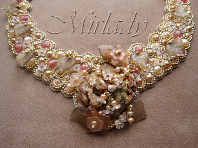 Necklace Bead Embroidery made from pearls, Rhodochrosite, Agate, color gold plated beads and 14K gold filled findings